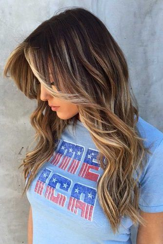 Layered Long Haircut With Center Parted Bangs #longhaircuts #haircuts