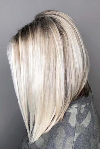 Icy Blonde Inverted Bob #mediumlengthhairstyles #mediumhair #hairstyles #invertedbob #blondebalayage