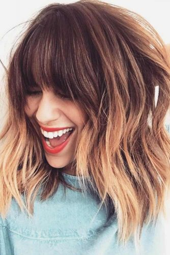 Medium Length Hairstyles With Bangs #mediumlengthhairstyles #mediumhair #hairstyles #longbang #caramelombre