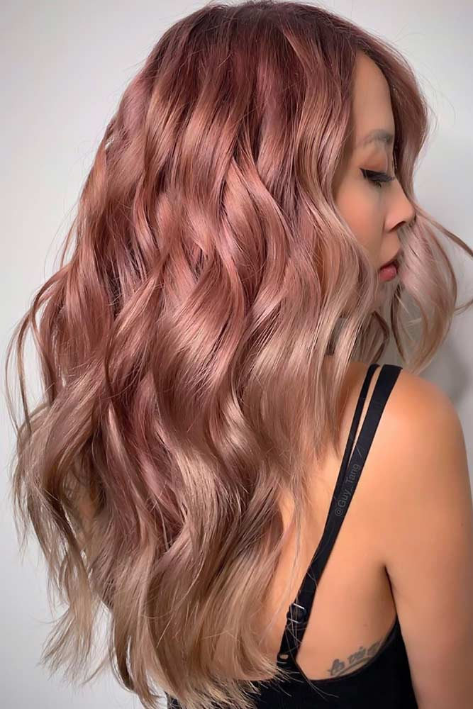 Darker Rose Gold For Brunettes With Light Ends #rosegoldhair