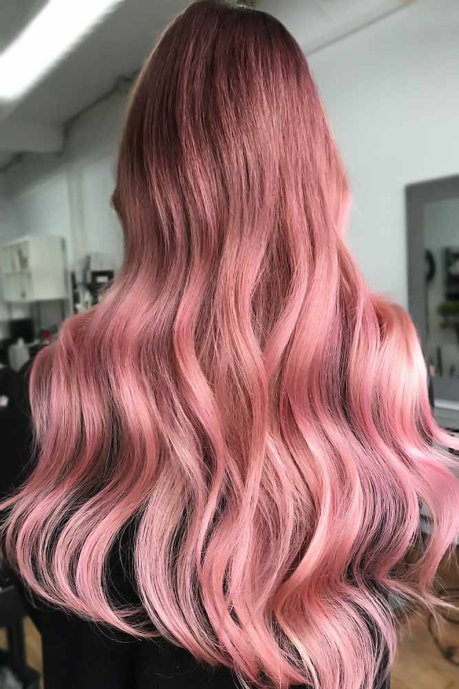 Darker Rose Gold For Brunettes Long #rosegoldhair