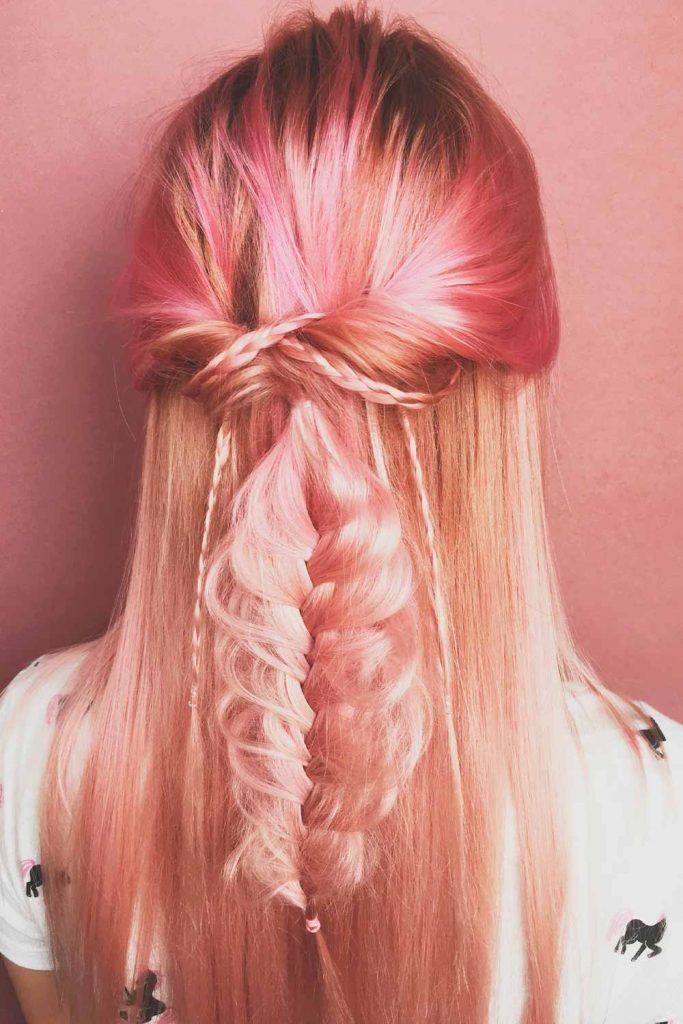Rose Gold Hair Balayage For Long Hair