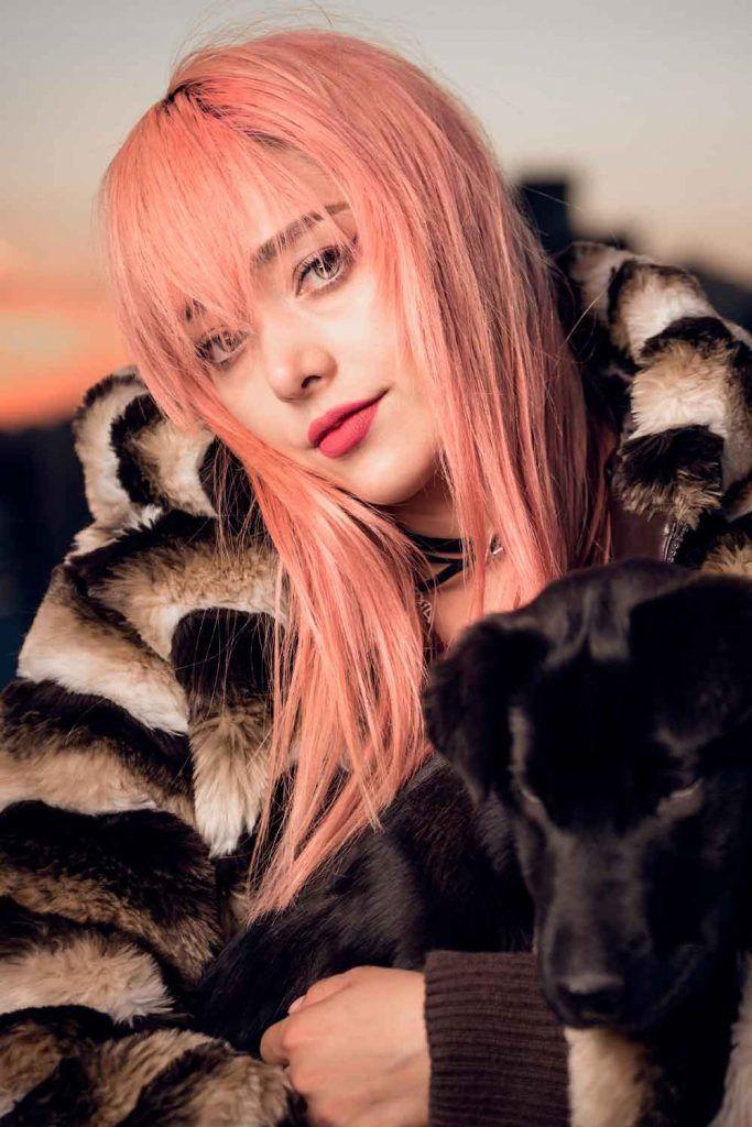 Shaggy Peach Rose Gold Hair