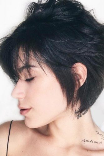 Behind the Ear Short Hairstyle with Bang