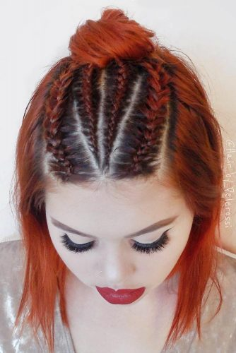 Cornrows Half-Up Topknot