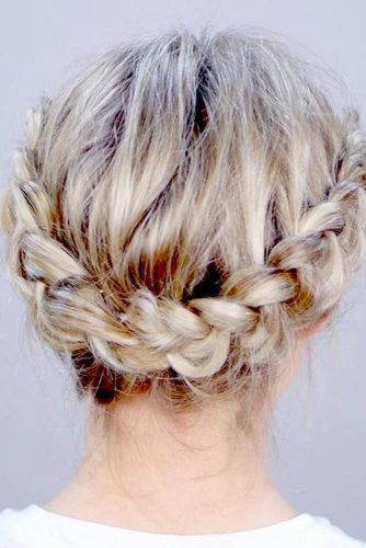 Dutch Braid Back Updo for Short Hair