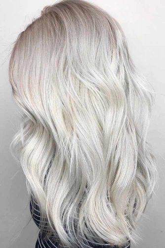 Bright Silver Tone Wavy #longhair #wavyhair #silverhair
