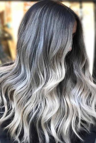 Silver Ideas For Brunettes Balayage #brunette #silverhair #wavyhair #balayage