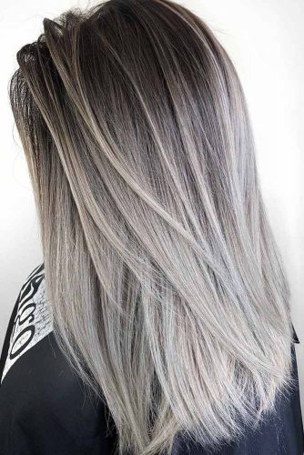 Silver Ideas For Brunettes Medium Length #mediumhair #brunette #ombre #silverhair