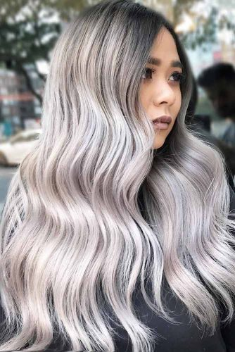Silver Ideas For Brunettes Long #longhair #wavyhair #brunette #silverhair