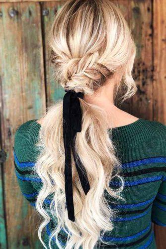 Low Braided Wavy Ponytails #updo #ponytails #wavyhair #braids