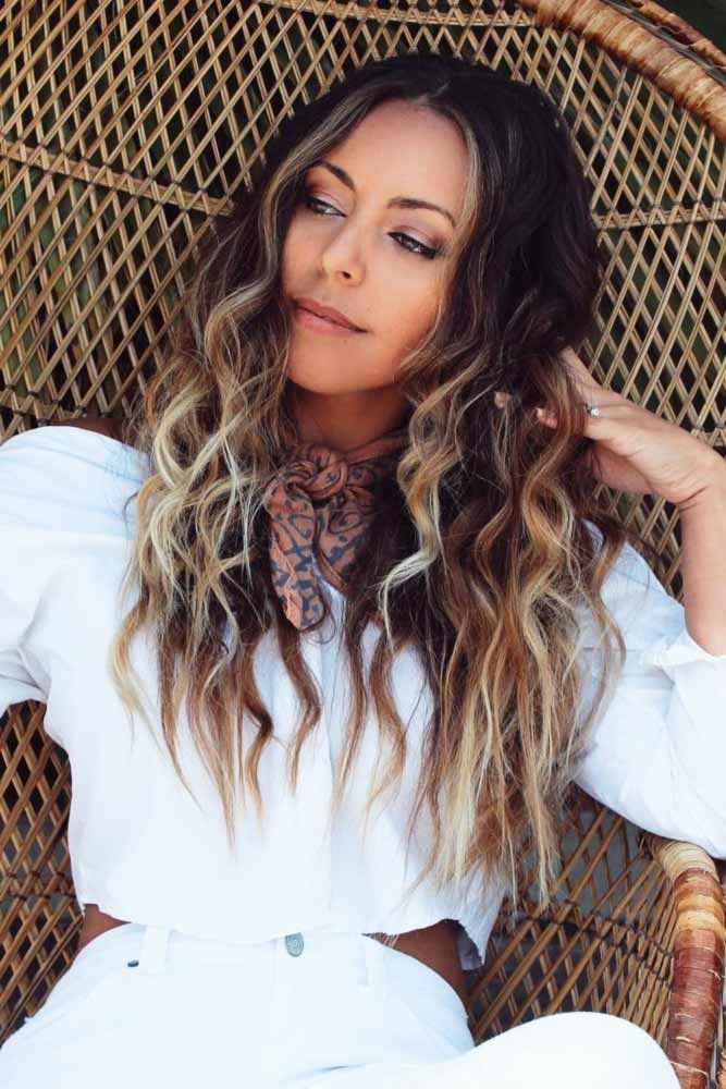 Center Parted Hair Waves Ideas Ombre #wavyhair #wavyhairstyles #wavyhaircuts