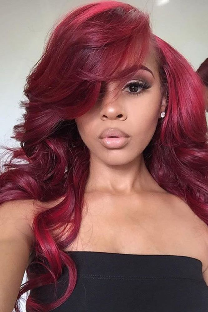 Side Part Sexy Waves For Ladies Red #wavyhair #wavyhairstyles #wavyhaircuts