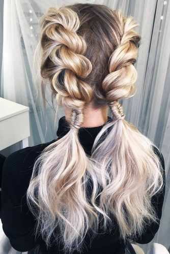 Double Rope Braids Into Ponytails #updo #braids #ponytail