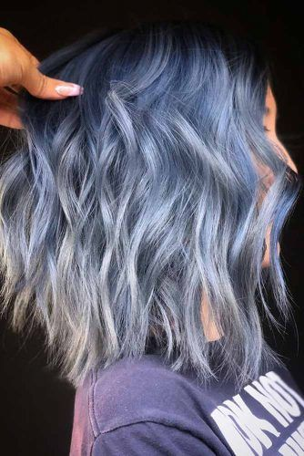 Denim Blue Black Roots #bluehair