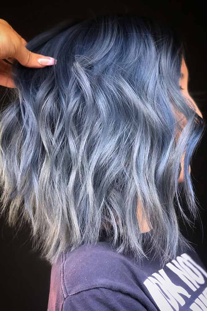 Denim Blue Black Roots #bluehair