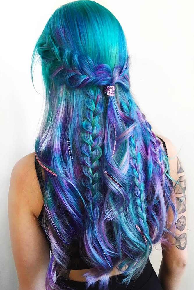 Mermaid Hair With Blue Accents Purple #bluehair #purplehair #highlights #mermaidhair