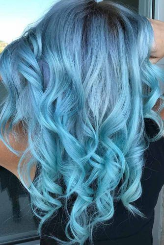 Powder Blue Brunette #bluehair #brunette