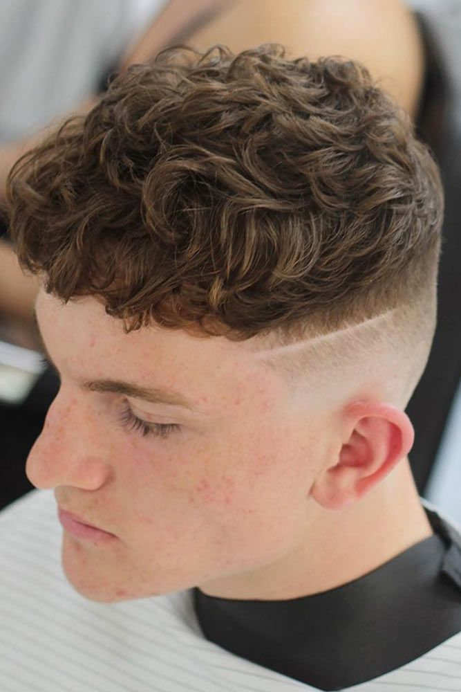 Curly Crew Cut With Shaved Line #crewcut #menhaircuts
