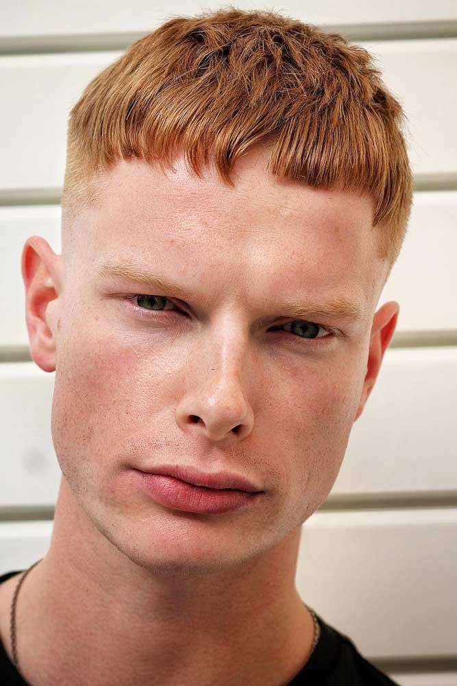 Red French Crop Crew Cut #crewcut #frenchcrop #bluntbang #redhair
