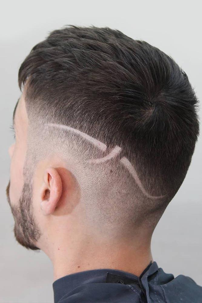 Surgical Line Crew Haircut Brunette #crewcut