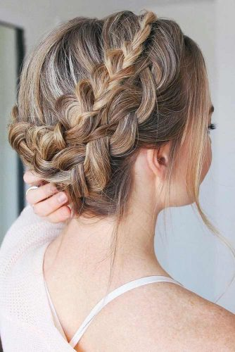 Double Dutch Braids Updo #braids #updo #brownhair