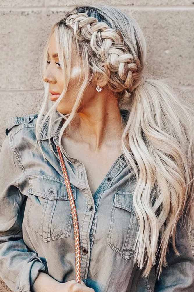 Side Dutch Braid Styles Ponytail #longhair #blonde #braids #ponytail