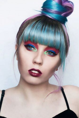 Buns & Ponytails Emo Hairstyles For Girls Blue #emohair #emohairstyles