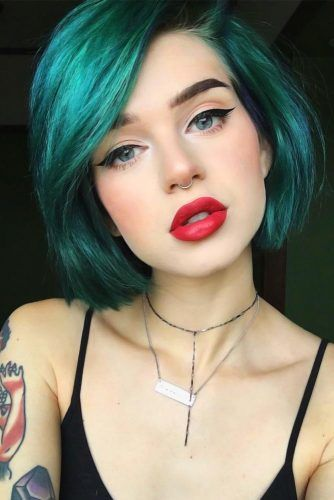 Emo Bob Styles Green #emohair #emohairstyles