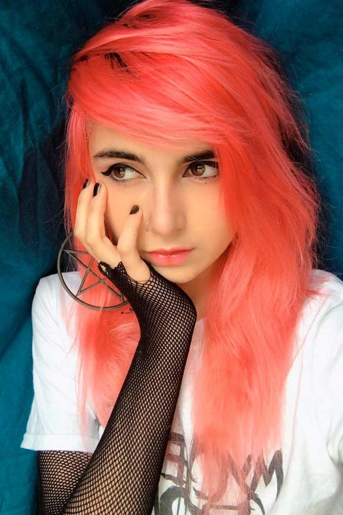 Emo Girl With Peach Hair