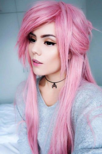 Long Emo Hair Styles With Bangs Pink #emohair #emohairstyles