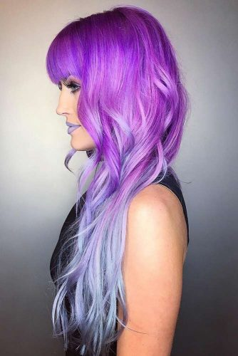 Long Length Violet Shades Of Emo Hair #emohair #hairstyles #violethair #longhair