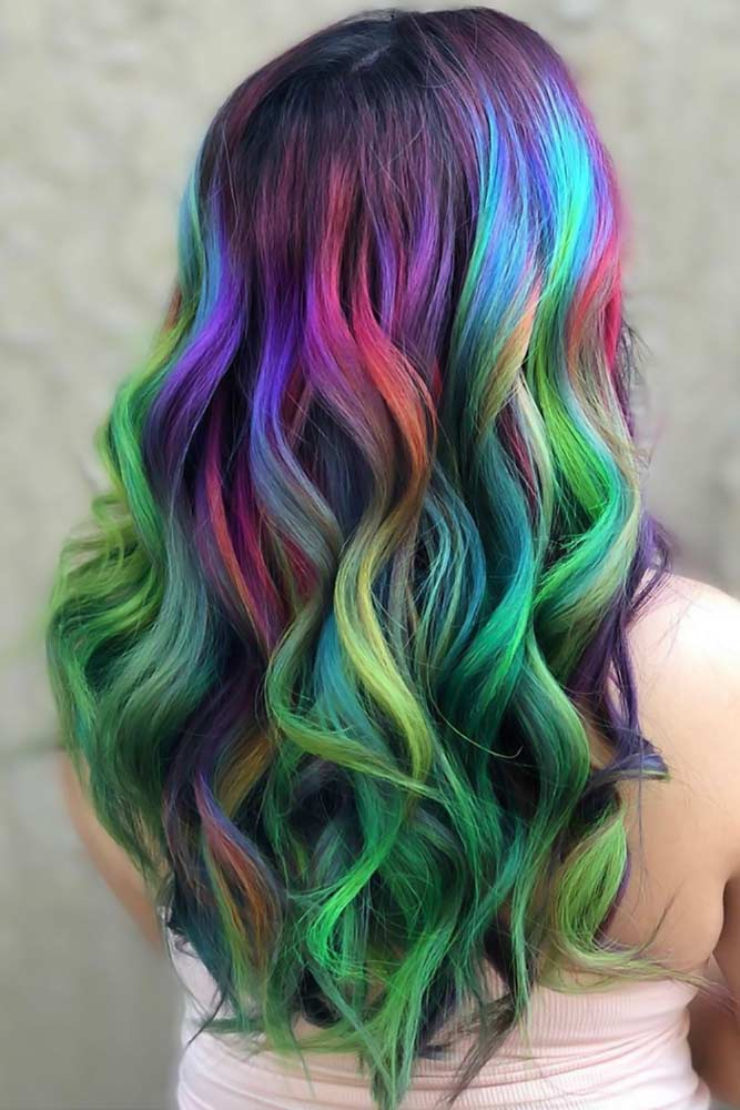 Greenish Galaxy Waves #galaxyhair