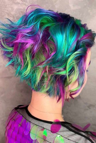 Greenish Galaxy Bob #galaxyhair