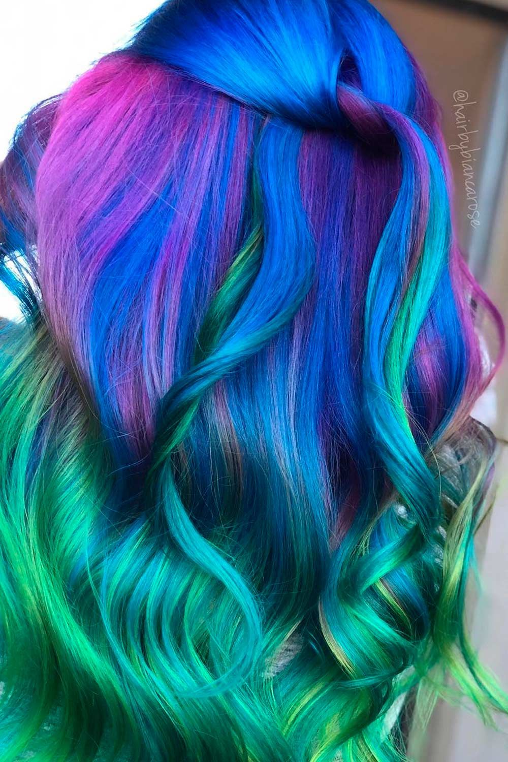 Greenish Galaxy Ombre Hair