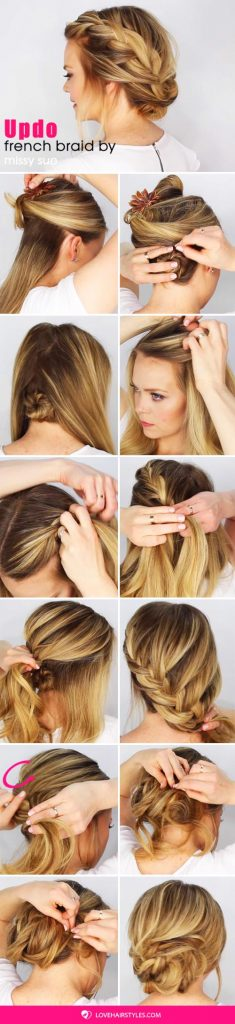 Fancy French Braid Updo #hairtutorial #braids