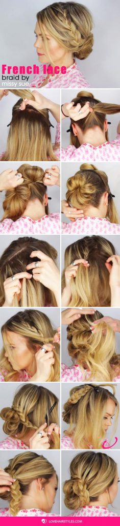 French Lace Braid Updo #hairtutorial #braids