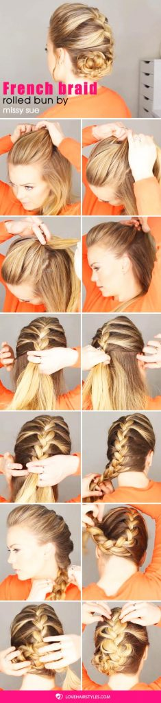 French Braid Rolled Bun #hairtutorial #braids