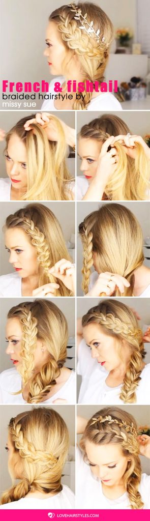 French Braid And Side Fishtail Braid #hairtutorial #braids