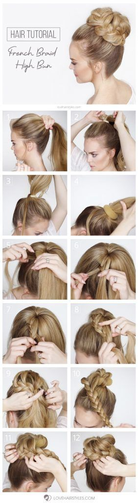 French Braid High Bun #braids #hairtutorial #updo #bun