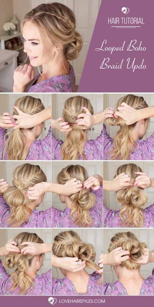 Looped Boho Braid Updo #braids #hairtutorial #updo