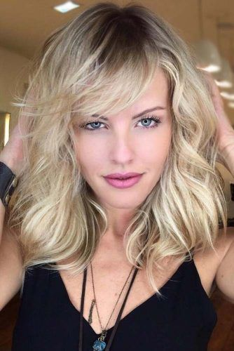 Blonde Medium Length Haircuts With Bangs #mediumlengthhaircuts #mediumhair #haircuts #longbob