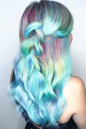 Pastel Mermaid Colors Braid #sleekhair #bluehair #braids