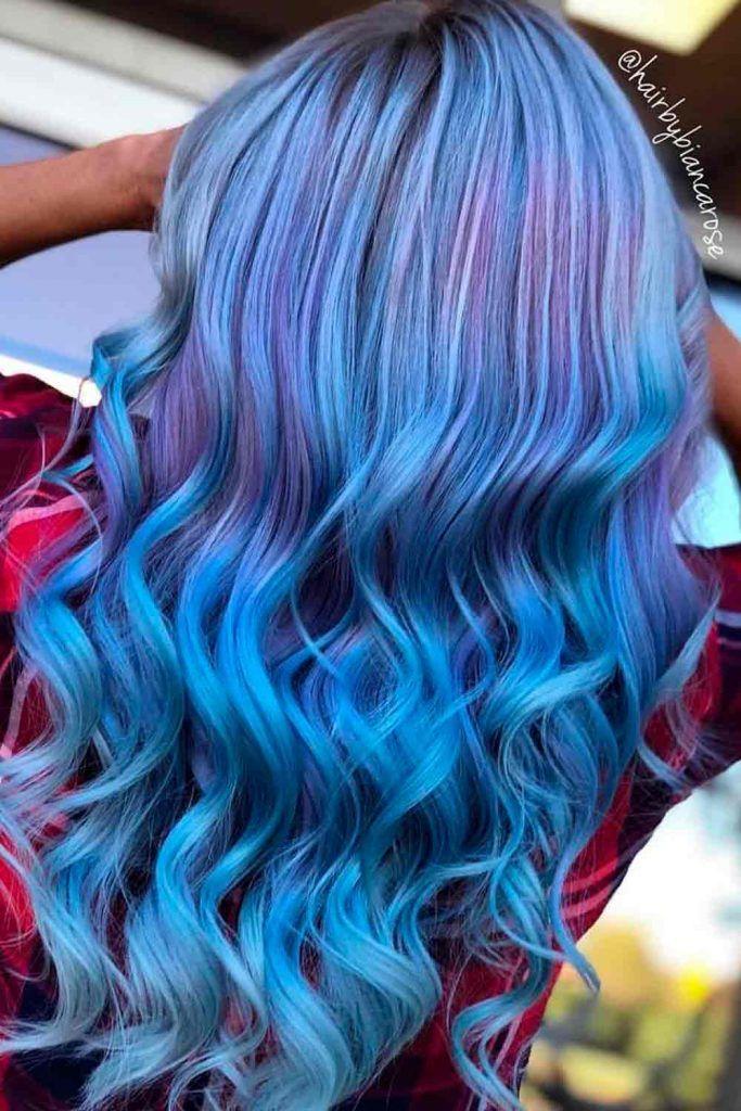 Mermaid Hair With Purple Highlights