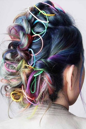 Bright Colorful Hairstyles Updo #fauxhawk #updo