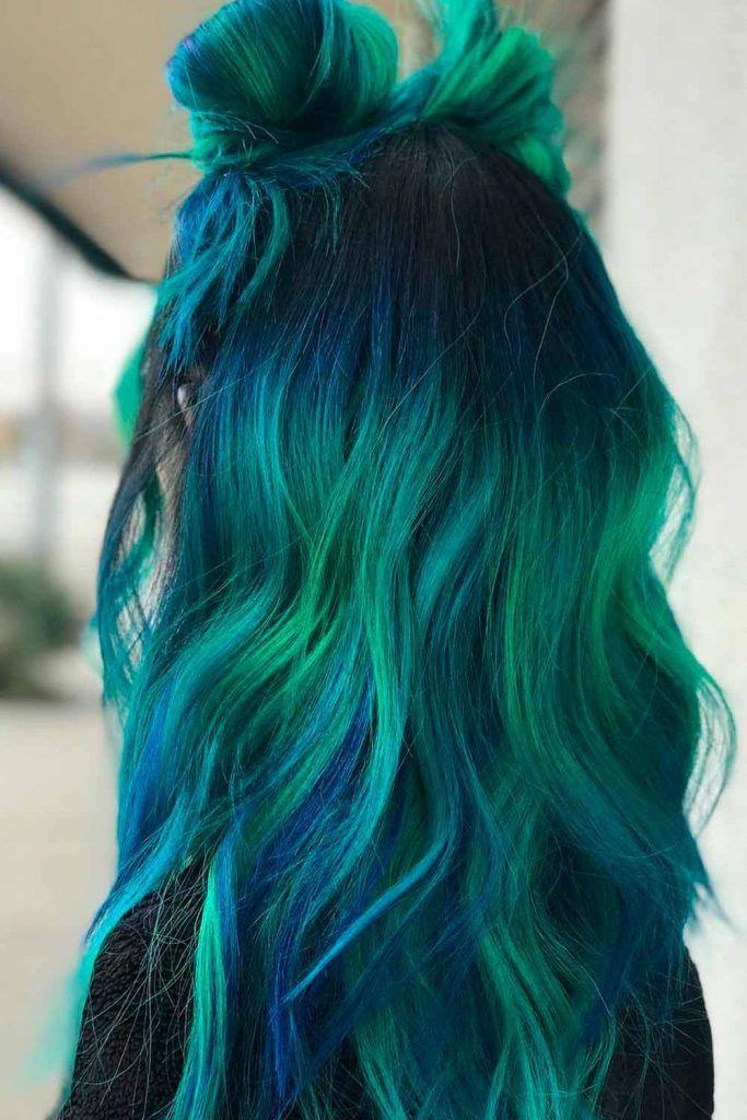 Deep Blue And Green Mermaid Hair Balayage