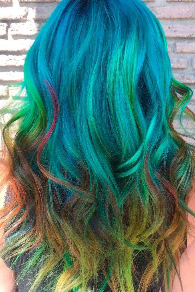 Green Mermaid Hair Ombre