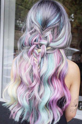 Pastel Mermaid Colors Half-Up #wavyhair #half-up