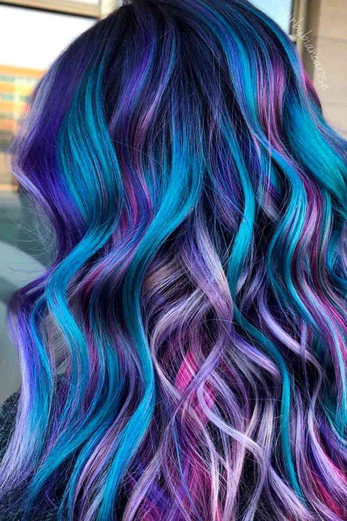 Deep Blue Mermaid Hair Highlights