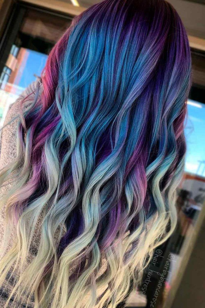 Mermaid Hair with Purple and Pink Tints